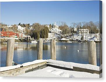 Rockport In Winter On The Coast Of Maine Canvas Print by Keith Webber Jr