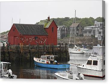 Rockport Inner Harbor With Lobster Fleet And Motif No.1 Canvas Print by Christiane Schulze Art And Photography