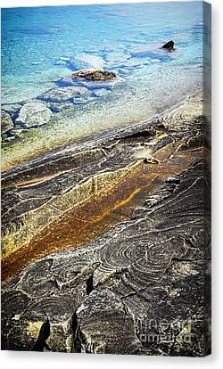 Rocks And Clear Water Abstract Canvas Print by Elena Elisseeva