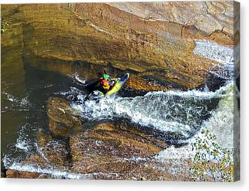 Rocks And Rapids Canvas Print by Susan Leggett