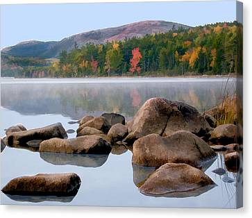Rocks And Reflections Eagle Lake In Acadia National Park Maine Canvas Print