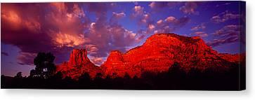 Rocks At Sunset Sedona Az Usa Canvas Print by Panoramic Images