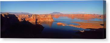 Rocks In A Lake, Lake Powell, Utah, Usa Canvas Print by Panoramic Images