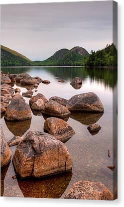 Rocks In Pond, Jordan Pond, Bubble Canvas Print