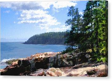 Rocky Maine Coast Canvas Print - Rocky Coast .  Impressionistic  by Ann Powell