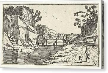 Rocky Landscape With Riverwalk, Esaias Van De Velde Canvas Print