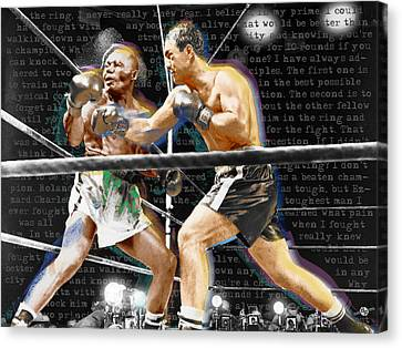 Rocky Marciano V Jersey Joe Walcott Quotes Canvas Print by Tony Rubino