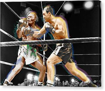 Rocky Marciano V Jersey Joe Walcott Canvas Print by Tony Rubino