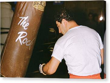 Rocky Marciano Vs. Heavy Bag Canvas Print by Retro Images Archive
