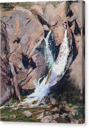 Rocky Mountain Cascade Canvas Print by Mary Benke