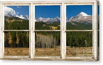 Rocky Mountain Continental Divide Rustic Window View Canvas Print