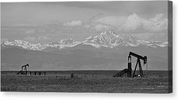 Rocky Mountain Front Range Oil Panorama Bw Canvas Print by James BO  Insogna