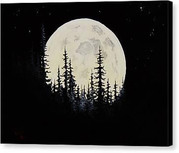 Rocky Mountain Moon Canvas Print by C Steele
