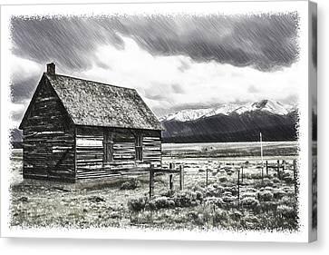 Old Cabins Canvas Print - Rocky Mountain Past by John Haldane