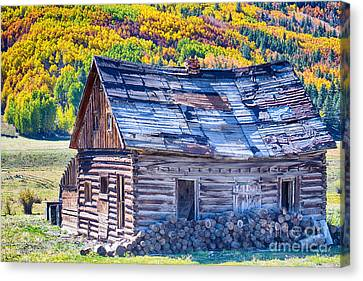 Rocky Mountain Rural Rustic Cabin Autumn View Canvas Print by James BO  Insogna
