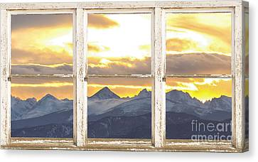 Rocky Mountain Sunset White Rustic Farm House Window View Canvas Print by James BO  Insogna