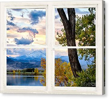 Rocky Mountains Lake Autumn Rustic White Washed Window View Canvas Print by James BO  Insogna