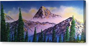 Canvas Print featuring the painting Rocky Mountains by Michael Rucker