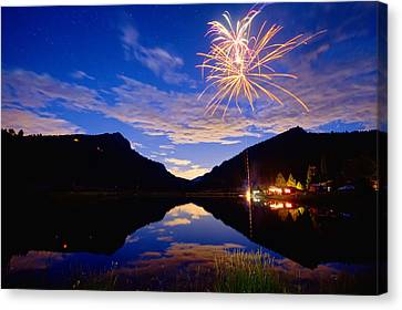 Rocky Mountains Private Fireworks Show Canvas Print by James BO  Insogna
