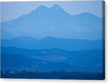 Rocky Mountains Twin Peaks Blue Haze Layers Canvas Print