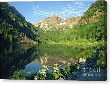Canvas Print featuring the photograph Rocky Mtn Lake Sunrise by Arthaven Studios