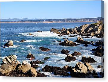 Canvas Print featuring the photograph Rocky Remains At Monterey Bay by Susan Wiedmann