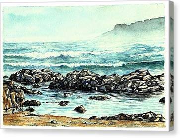 Canvas Print featuring the painting Rocky Seashore by Heidi Kriel