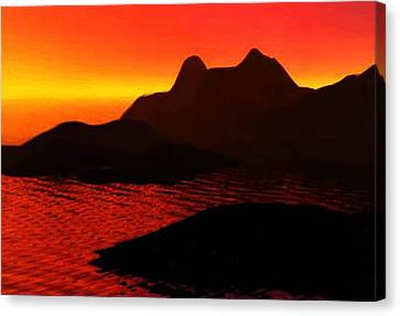 Rocky Sunset Canvas Print by P Dwain Morris
