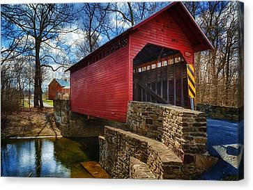 Old Country Roads Canvas Print - Roddy Road Covered Bridge by Joan Carroll