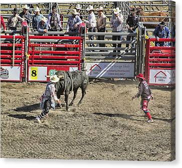 Rodeo Clowns At Work Canvas Print