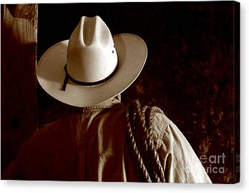 Rodeo Cowboy Canvas Print by Olivier Le Queinec