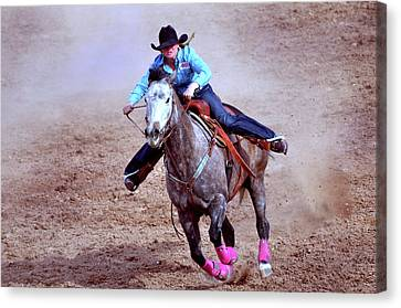 Canvas Print featuring the photograph Rodeo Cowgirl by Barbara Manis