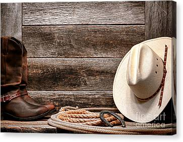 Cowboy Hat Canvas Print - Rodeo Still Life by Olivier Le Queinec