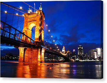 Roebling Bridge Cincinnati Canvas Print by James Kirkikis