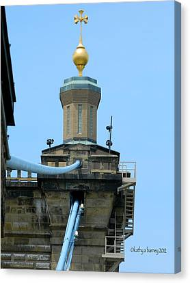 Canvas Print featuring the photograph Roebling Bridge From Kentucky by Kathy Barney
