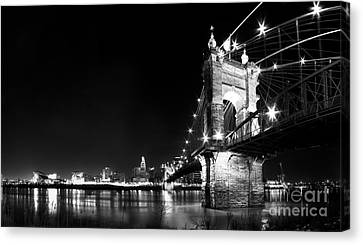 Roebling Bridge In Black And White Canvas Print by Twenty Two North Photography