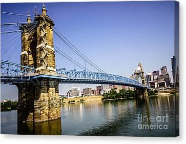 Roebling Bridge In Cincinnati Ohio Canvas Print by Paul Velgos