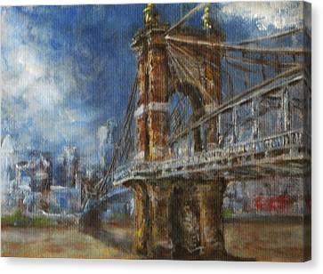 Roebling Bridge Canvas Print by Josh Hertzenberg