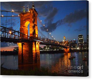 Roebling Suspension Bridge At Sunset Canvas Print