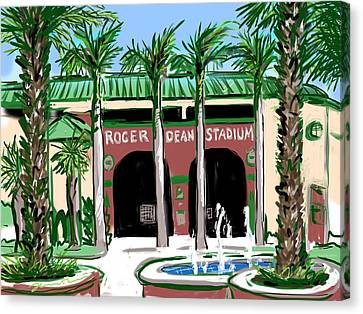Roger Dean Stadium Canvas Print by Jean Pacheco Ravinski
