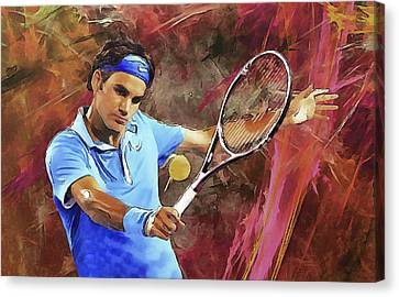 Australian Open Canvas Print - Roger Federer Backhand Art by RochVanh