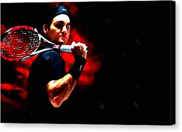 Roger Federer Tennis Canvas Print by Lanjee Chee
