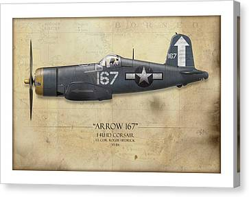 Aircraft Carrier Canvas Print - Roger Hedrick F4u Corsair - Map Background by Craig Tinder