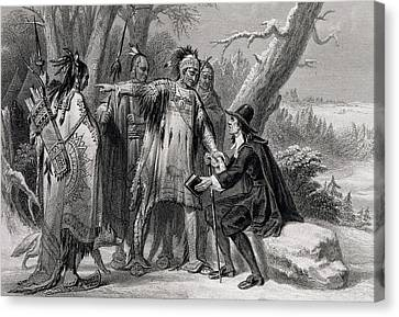 Roger Williams Sheltered By The Narragansetts Canvas Print by James Charles Armytage