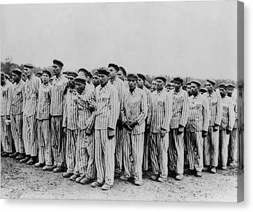 Roll Call At Buchenwald Concentration Canvas Print by Everett