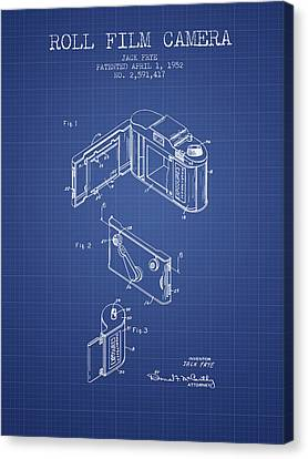 Roll Film Camera Patent From 1952 - Blueprint Canvas Print by Aged Pixel