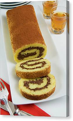 Roll Of Sponge Cake With Chocolate Canvas Print