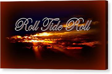 Roll Tide Roll W Red Border - Alabama Canvas Print