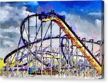 Roller Coaster Painting Canvas Print by Magomed Magomedagaev