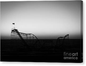Roller Coaster Silhouette Black And White Canvas Print by Michael Ver Sprill